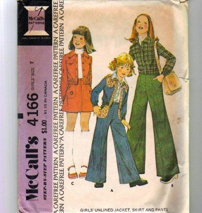 McCall's 4166 Girls Mod Jacket Skirt Pants 70's Sewing Pattern Size 7 Chest 26