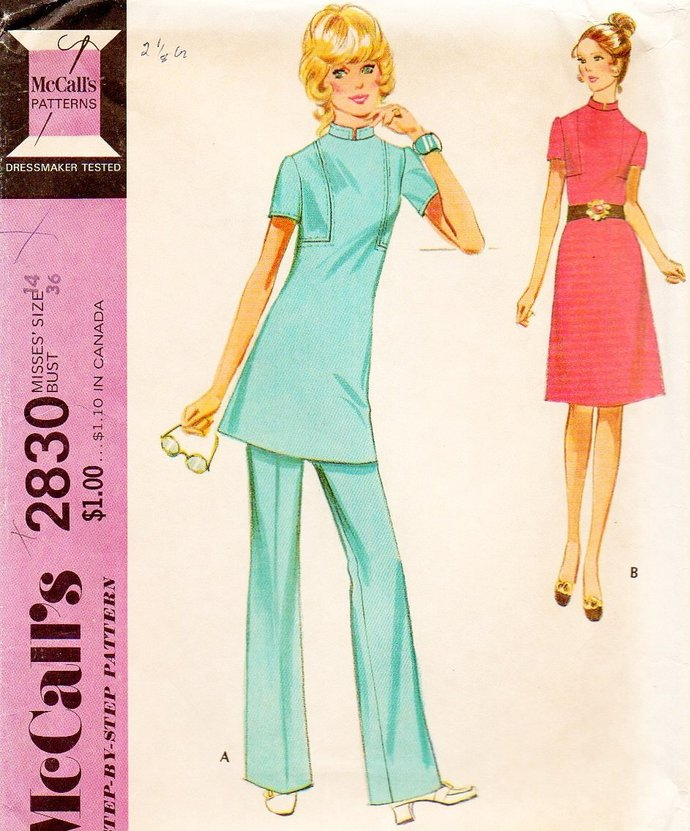 McCall's 2830 Misses 70s Dress, Pants, Tunic Vintage Sewing Pattern Size 14