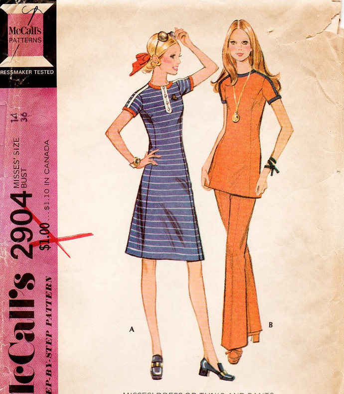McCall's 2904 Misses Dress Tunic Pants 70s Vintage Sewing Pattern Size 14 Uncut