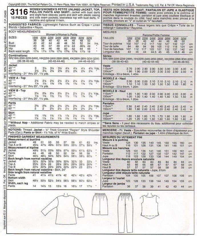 McCall's 3116 Women Jacket Top Pants Skirt Sewing Pattern Plus Size 18, 20, 22,