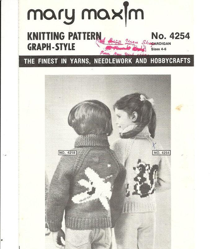 Mary Maxim Flower Skunk Sweater Knitting Pattern Child's Size 4, 6 No. 4254