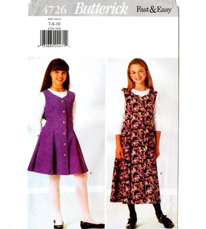 Butterick 4726 Girls Dress, Jumper, Top 90s Vintage Sewing Pattern UNCUT Size 7,