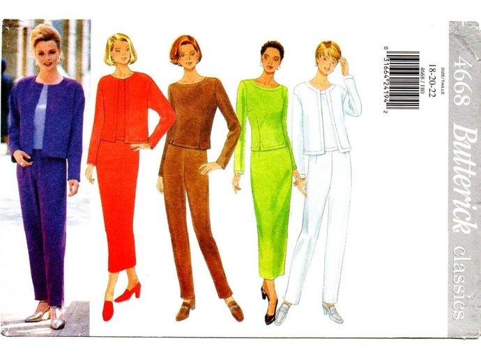 Butterick 4668 Misses Jacket Top Pants Skirt 90s Vintage Sewing Pattern UNCUT