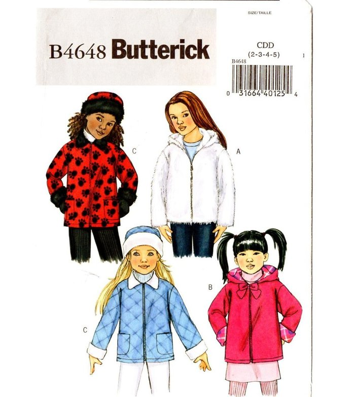 Butterick 4648 Girls Jacket, Hat Sewing Pattern Size 2, 3, 4, 5 Chest 21, 22,
