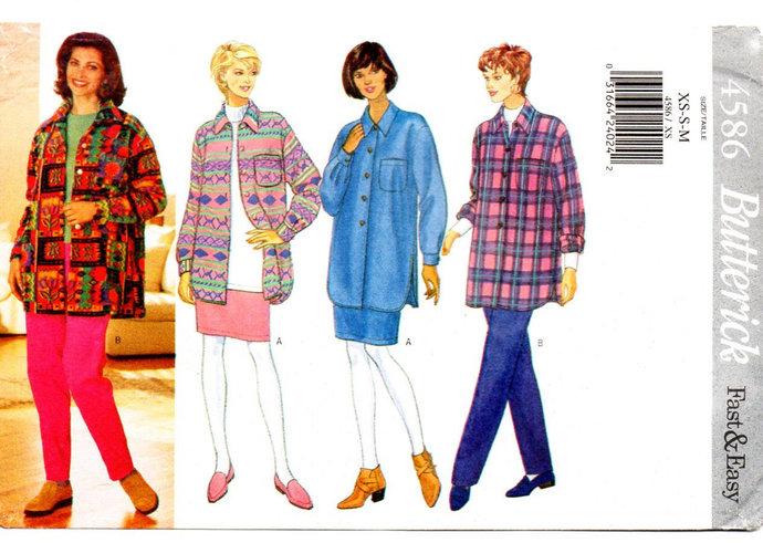 Butterick 4586 Misses Oversized Shirt, Skirt, Pants 90s Vintage Sewing Pattern