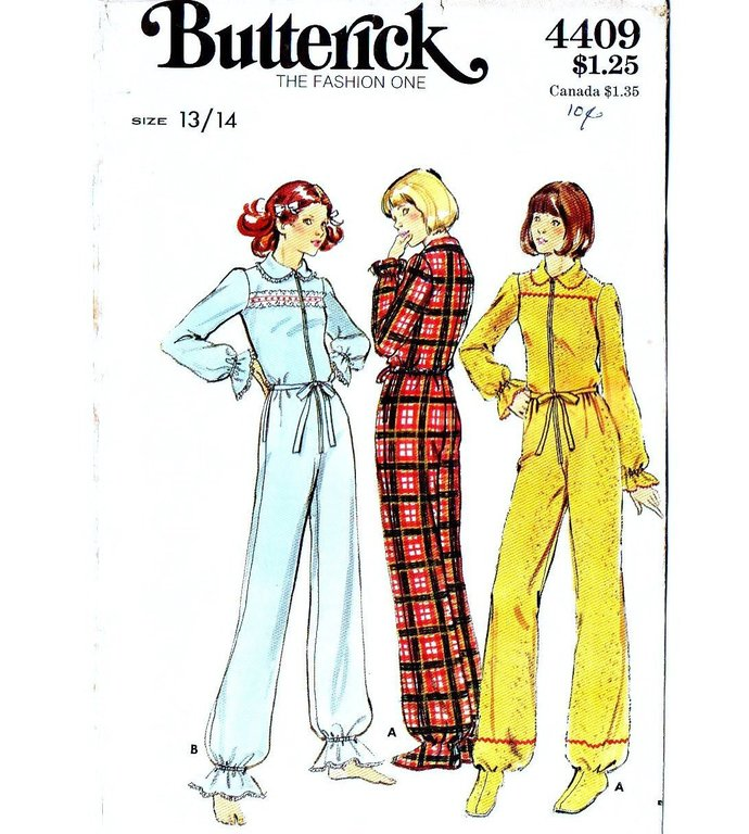 Butterick 4409 Miss One Piece Pajamas 70s Vintage Sewing Pattern Uncut Junior