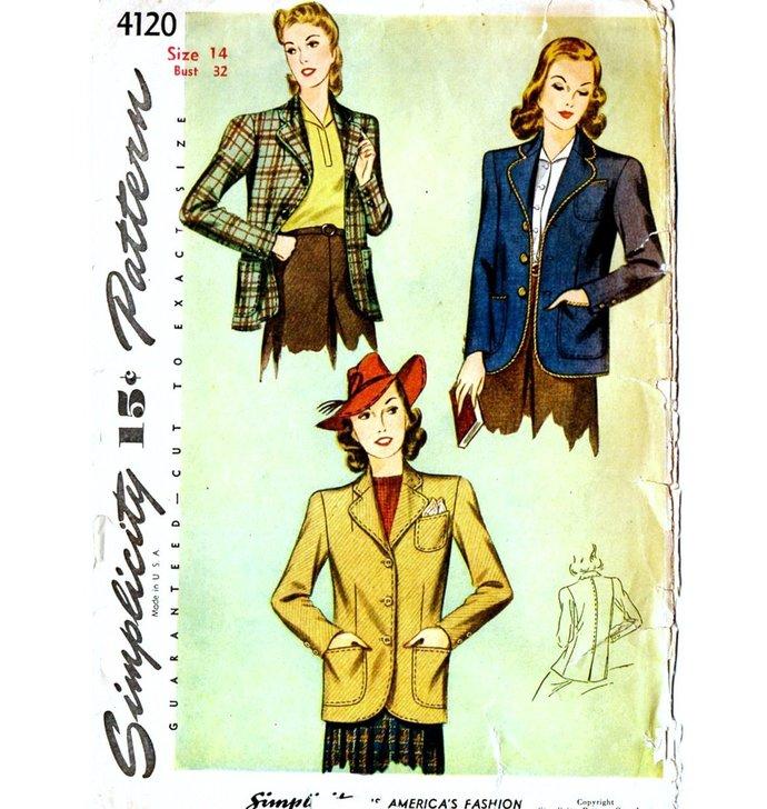 Simplicity 4120 Misses Jacket, Blazer 40s Vintage Sewing Pattern Uncut Size 14