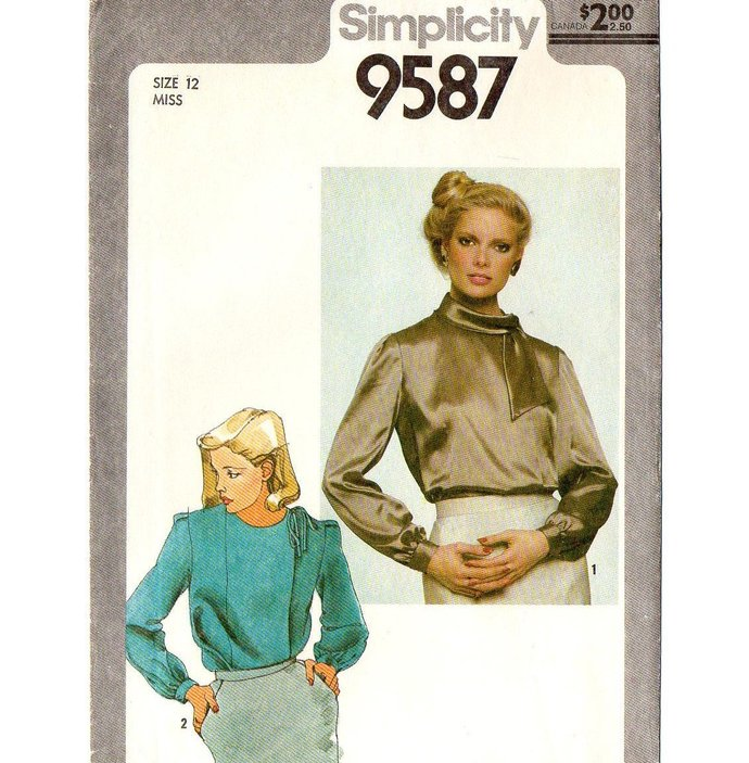 Simplicity 9587 Misses Front Wrap Blouse 80s Vintage Sewing Pattern Size 12 Bust