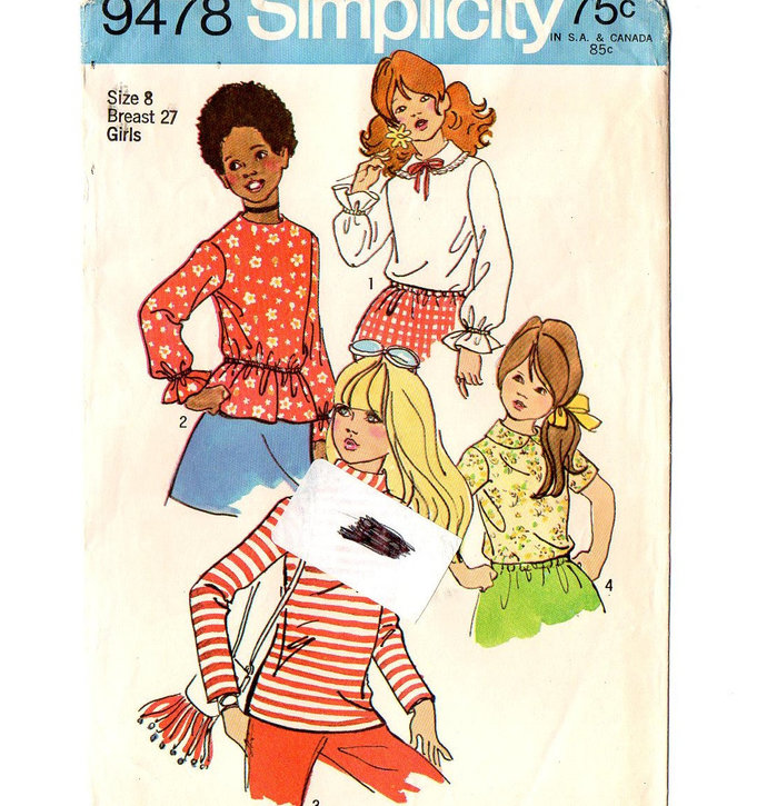 Simplicity 9478 Girls Top Blouse 70s Vintage Sewing Pattern Size 8 Chest 27