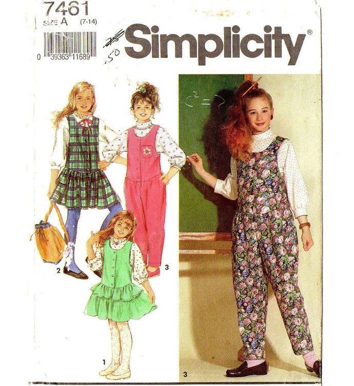 Simplicity 7461 Girls Blouse, Jumper, Jumpsuit 90s Vintage Sewing Pattern UNCUT
