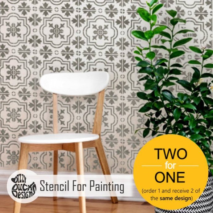 MARBELLA Tile Furniture Wall Floor Stencil for Paint - Small x 6 MARB01S6