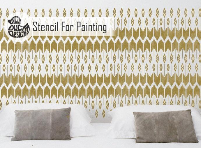 MOHAWK Native American Furniture Wall Floor Stencil for Paint - Furniture Medium