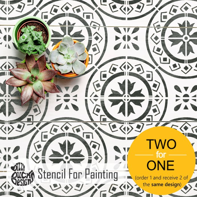 MORELLO Tile Furniture Wall Floor Stencil for Painting - Large MORE01L