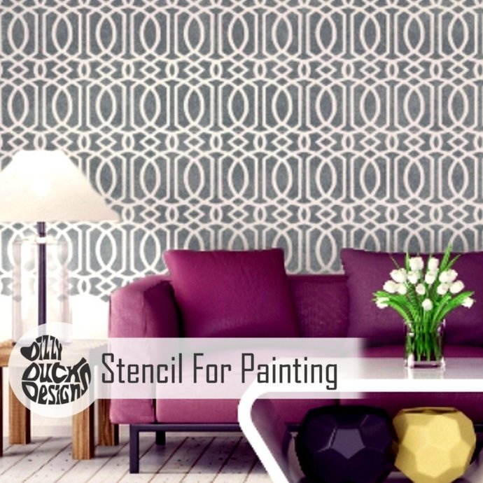 MOROCCAN TRELLIS Furniture Wall Floor Stencil for Painting - Furniture Small