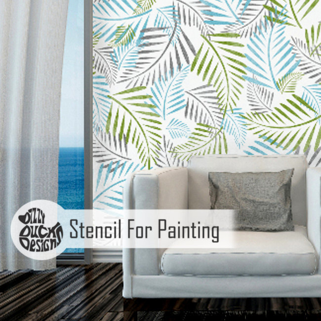 PALM LEAF - Furniture Wall Floor Stencil for Painting - X Large PALM01XL