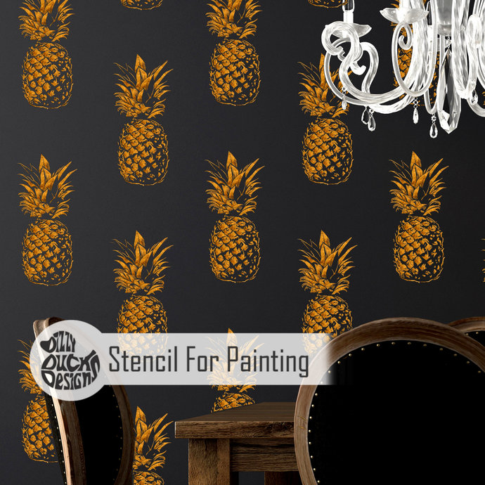 PINEAPPLE REPEAT Wall Stencil for Painting - Wall Large PINE01WL