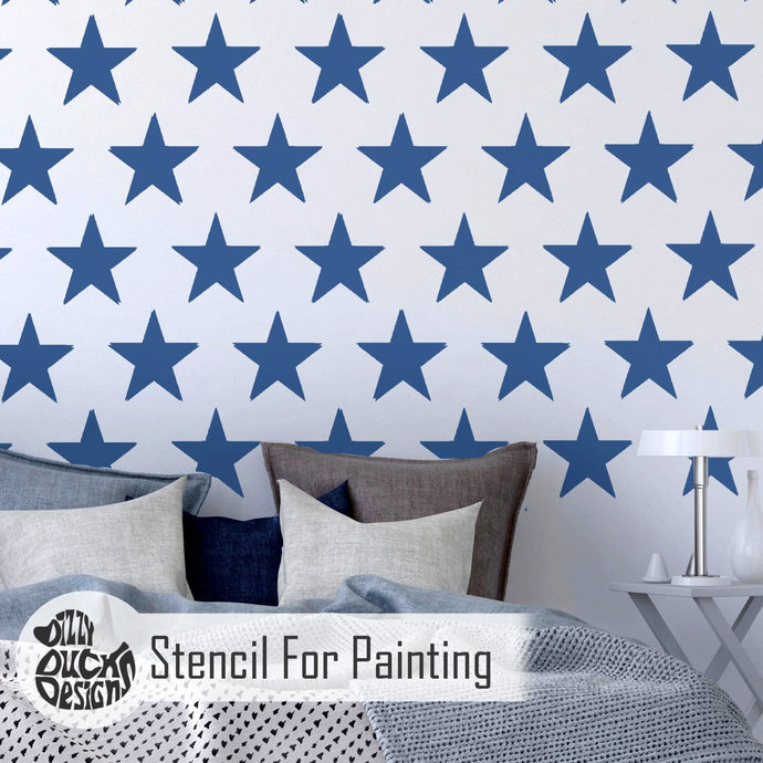5-POINT STAR REPEAT Furniture Wall Floor Stencil for Paint - Furniture Large