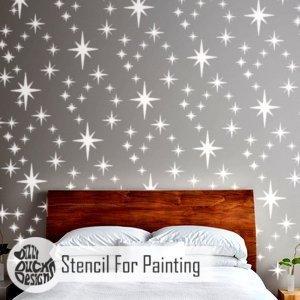 8-POINT STAR CLUSTER Wall Stencil for Paint - Furniture Medium STAR05FM
