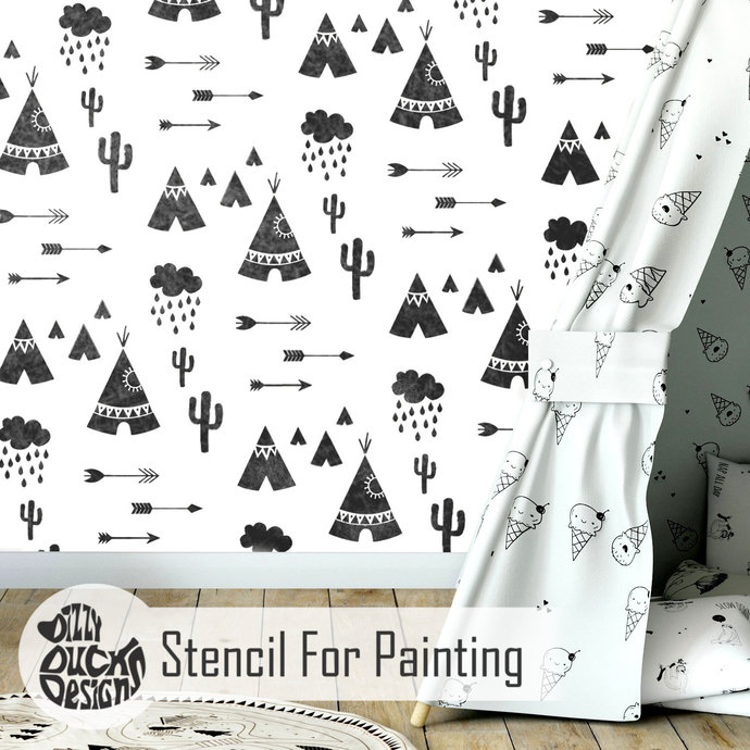 TIPI VILLAGE Furniture Wall Stencil for Painting - Wall Large TIPI03WL