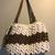 White and Brown Crochet Purse, Brown handle crochet Bag, Brown Beads Bag,