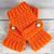 Crocheted Orange Fingerless Gloves with Button Straps
