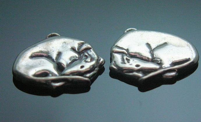 """Sleeping Beauty"" sterling silver greyhound/whippet charm"