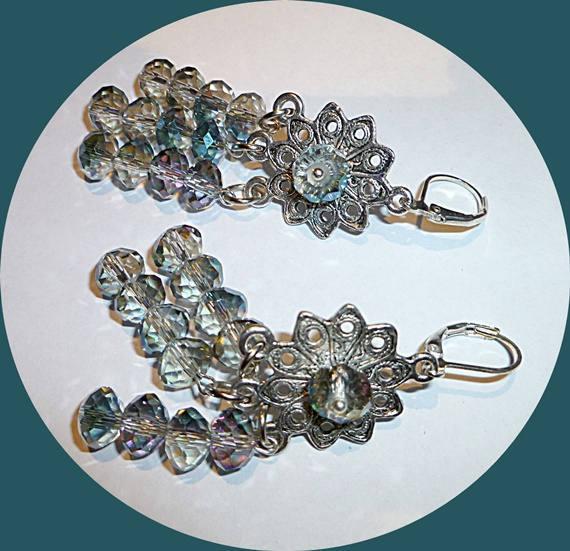 Grey AB crystal chandelier earrings