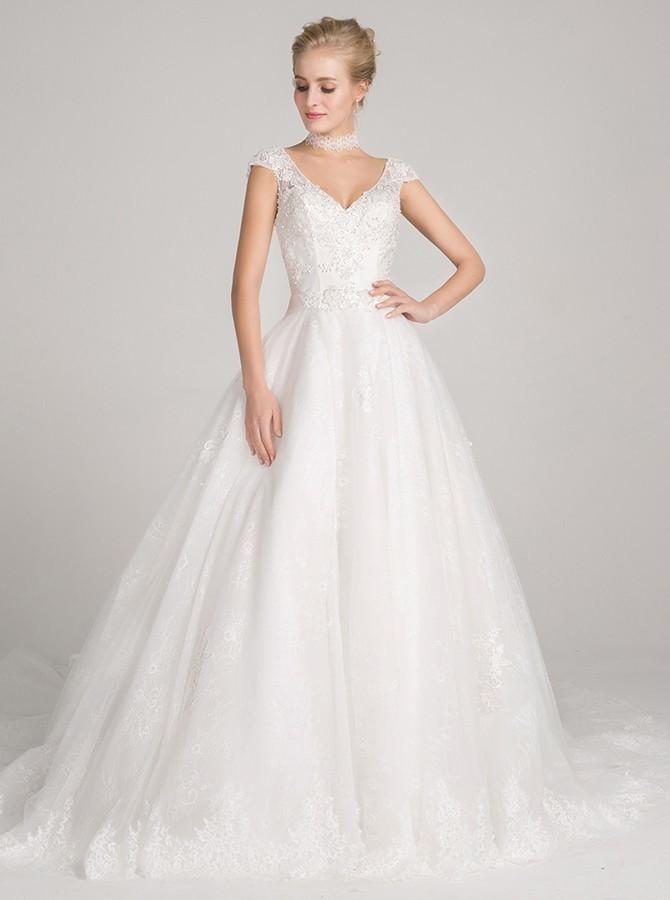 White V Neck Wedding Dresses, A-Line Wedding Dress, Appliques Wedding Dresses