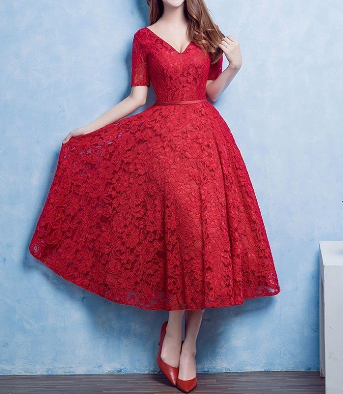 Red Lace Prom Dresses,Lovely Prom Dress,Prom Party Dress,Short Prom Dress,Red