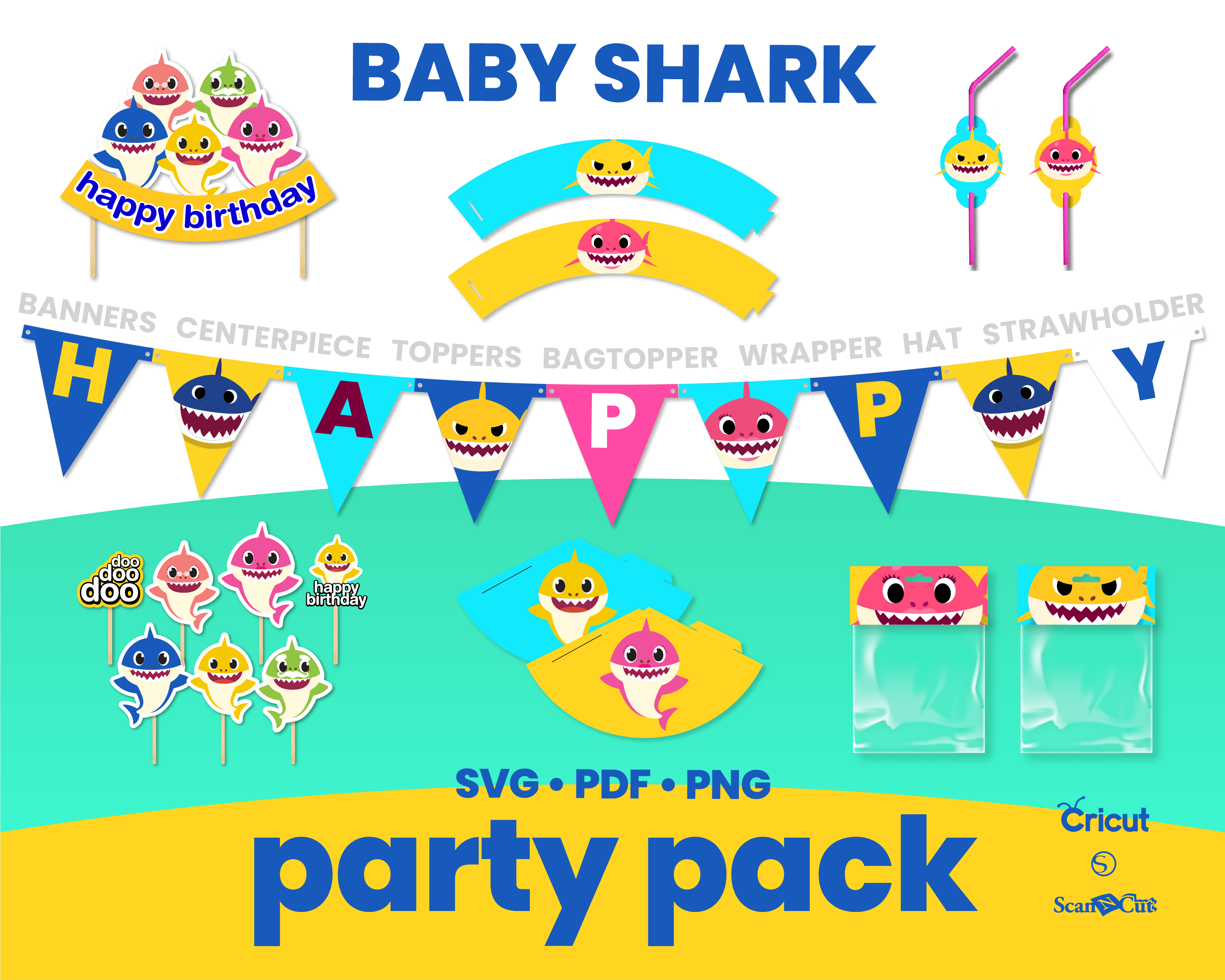 Baby Shark Party Theme Svg Png Pdf By Sweetdigital