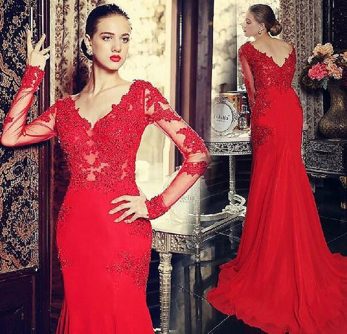 Red Prom Dress,Sexy Long Sleeves Prom Dress,Backless Lace Appliques Wedding