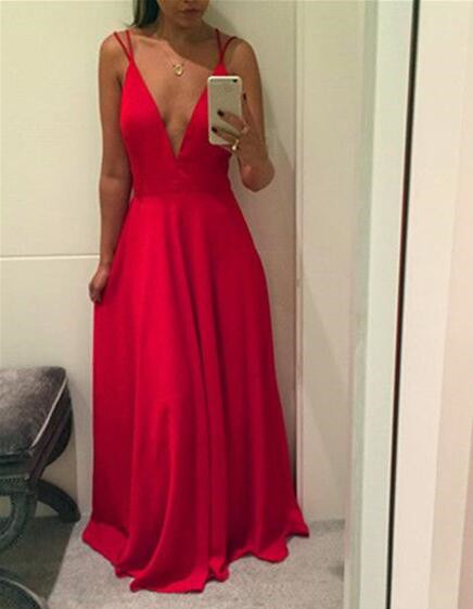 Red Straps Sexy Chiffon Prom Dresses, Red Floor Length Evening Gowns, Party
