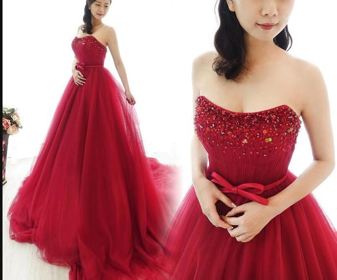 Wine Red Charming Beaded Formal Gown Party Dresses  Burgundy Evening Dress