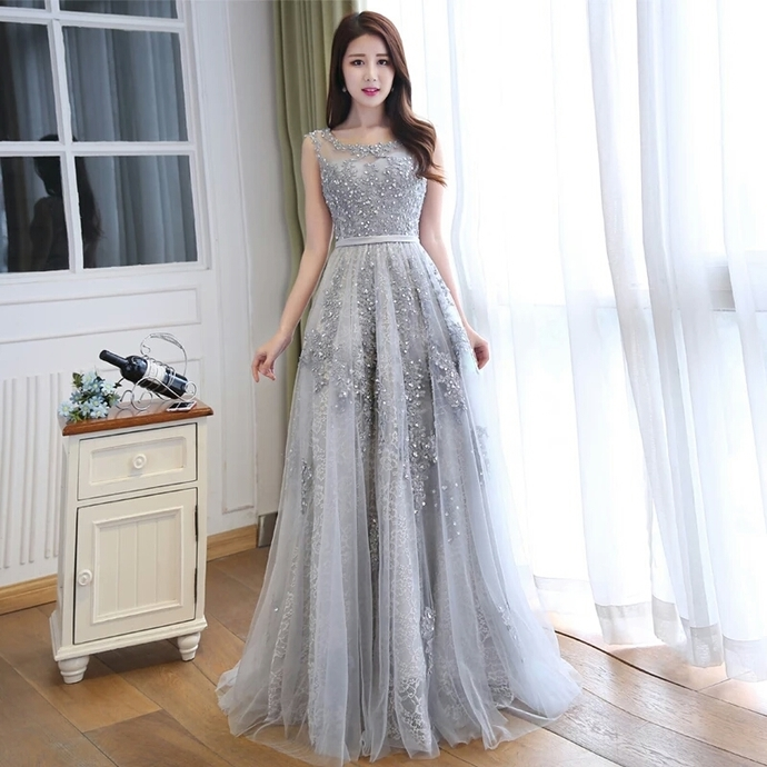 9868d35427d Grey Lace and Tulle Long Formal Dress