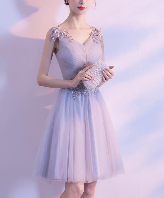 Grey Tulle V-neckline Simple Homecoming Dress Grey Party Dress, Grey Homecoming
