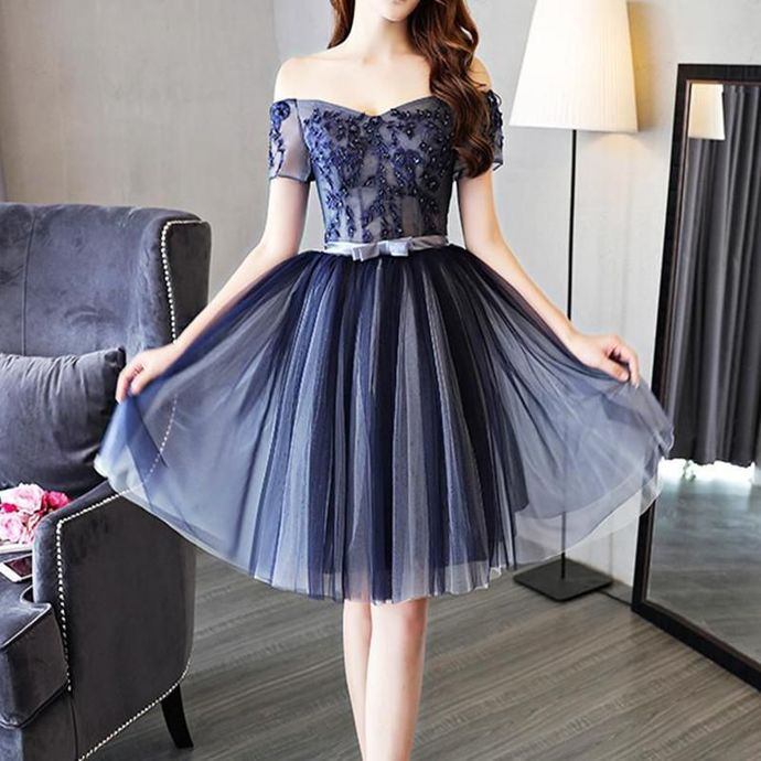Navy Blue Cute Party Dress, Short Prom Dress, Lovely Homecoming Dress