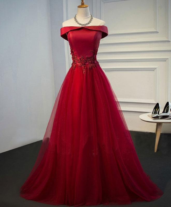 Red Satin and Tulle Off Shoulder Long Formal Gowns, Red Party Dress, Lace-up