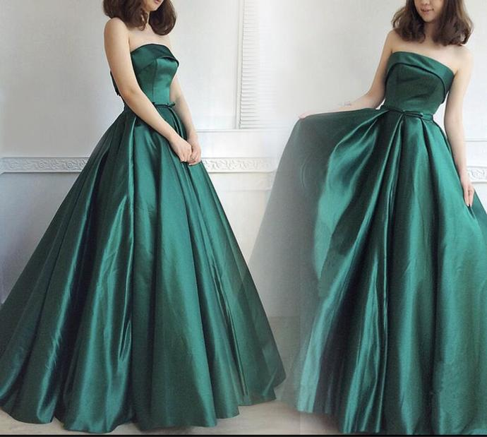 Green Satin Long Party Gowns, Junior Prom Dress, Green Party Dress