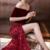 Burgundy Off Shoulder Half Sleeve Long Evening Dress with Side Slit, Mermaid