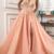 Elegant Lace Flowers V-neck Long Tulle Split Evening Gown Dresses