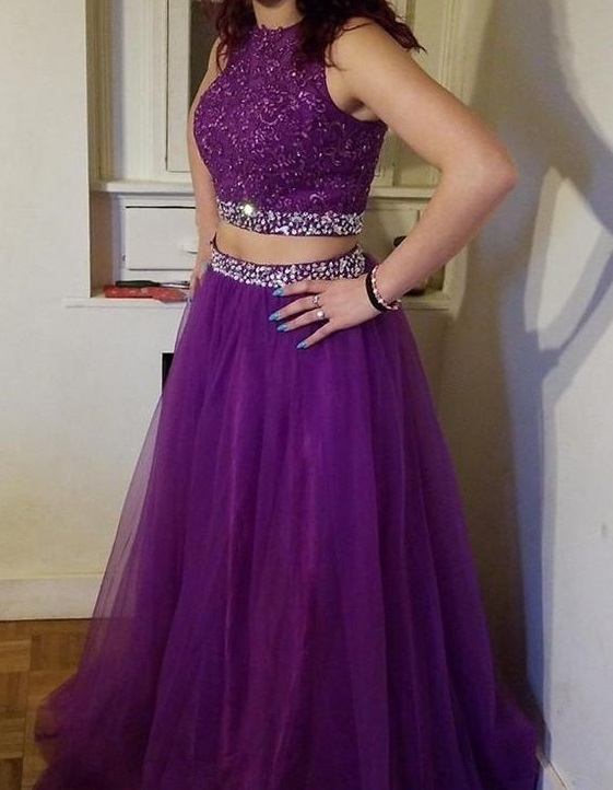 Beautiful Fashion Two Piece Beaded Lace Prom Dress Custom Made Long Two Pieces