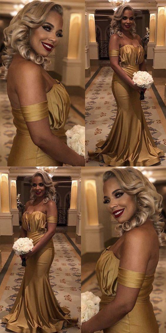 Long Gold Satin Off Shoulder Mermaid Bridesmaid Dresses