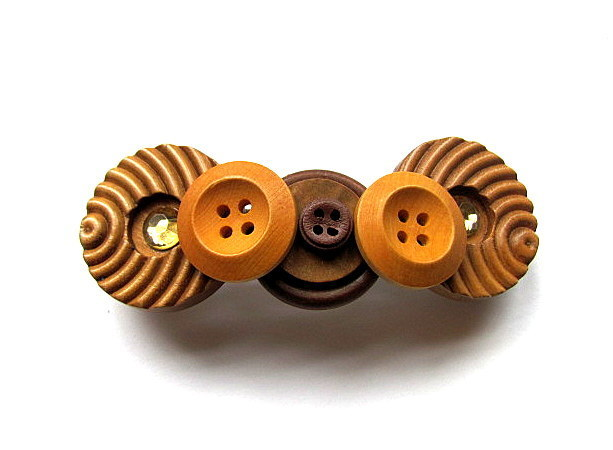 Wood Button Barrette FREE US Shipping