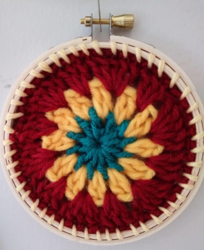 """Crocheted Granny Square Circle 4"""""""