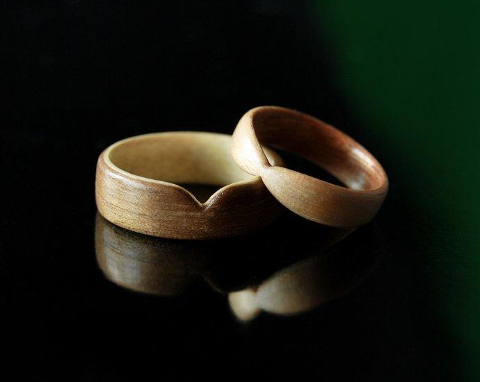 Couples Rings Wood Ring Set · Handmade Maple & Walnut Bentwood Rings ·