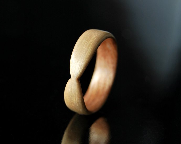 Unique Rings For Her · Handmade Wood Ring Women · Maple Mahogany Bentwood Ring
