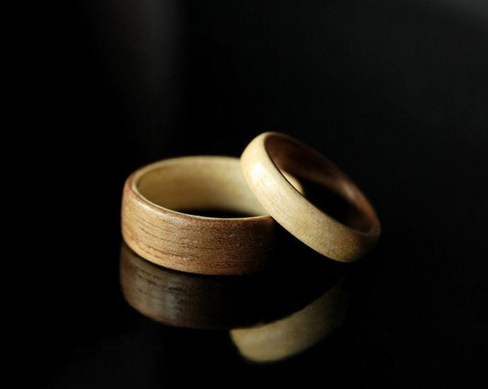 Wood Ring Set · Handmade Maple & Walnut Bentwood Rings · Couples rings •