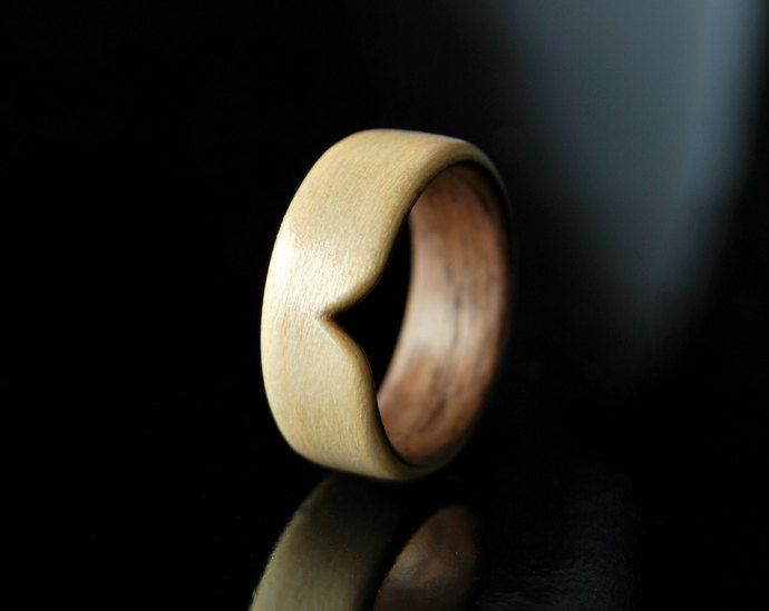 Handcrafted Mens Wood Ring Band · Bentwood · Walnut & Maple Ring · Wood Ring