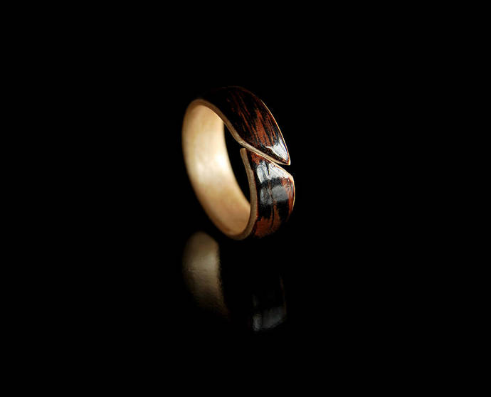 Unique Rings For Her · Handmade Wood Ring Women · Wenge & Maple Bentwood Ring
