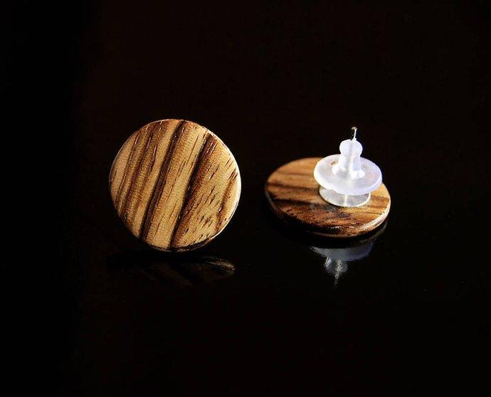Handcrafted Women Studs Earrings • Zebrano Wood Earrings • Gift For Her •